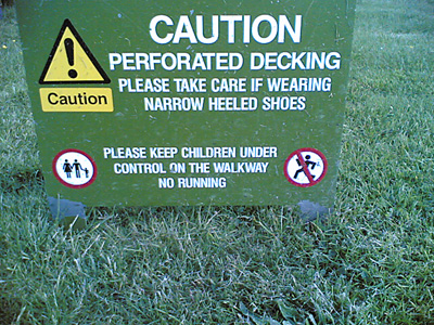Caution sign: Perforated decking