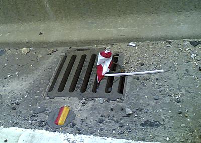 flag in drain
